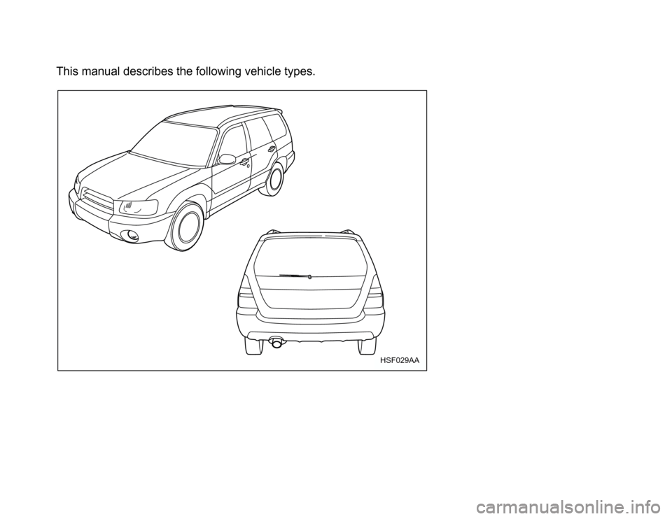 SUBARU FORESTER 2003 SG / 2.G Owners Manual