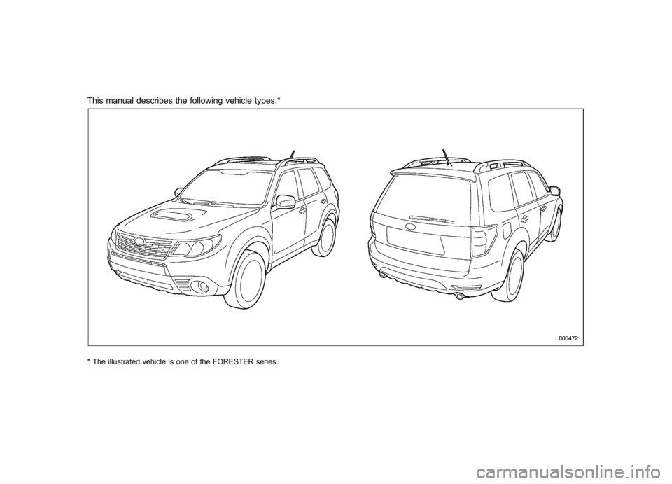 SUBARU FORESTER 2010 SH / 3.G Owners Manual