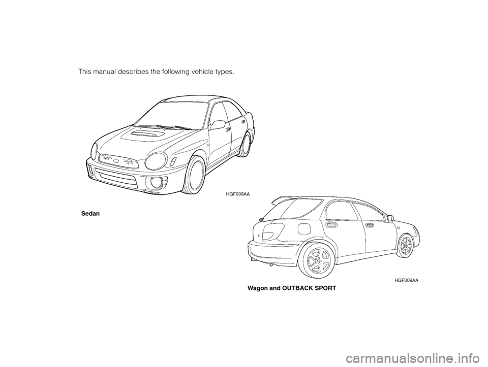 SUBARU IMPREZA 2002 2.G Owners Manual