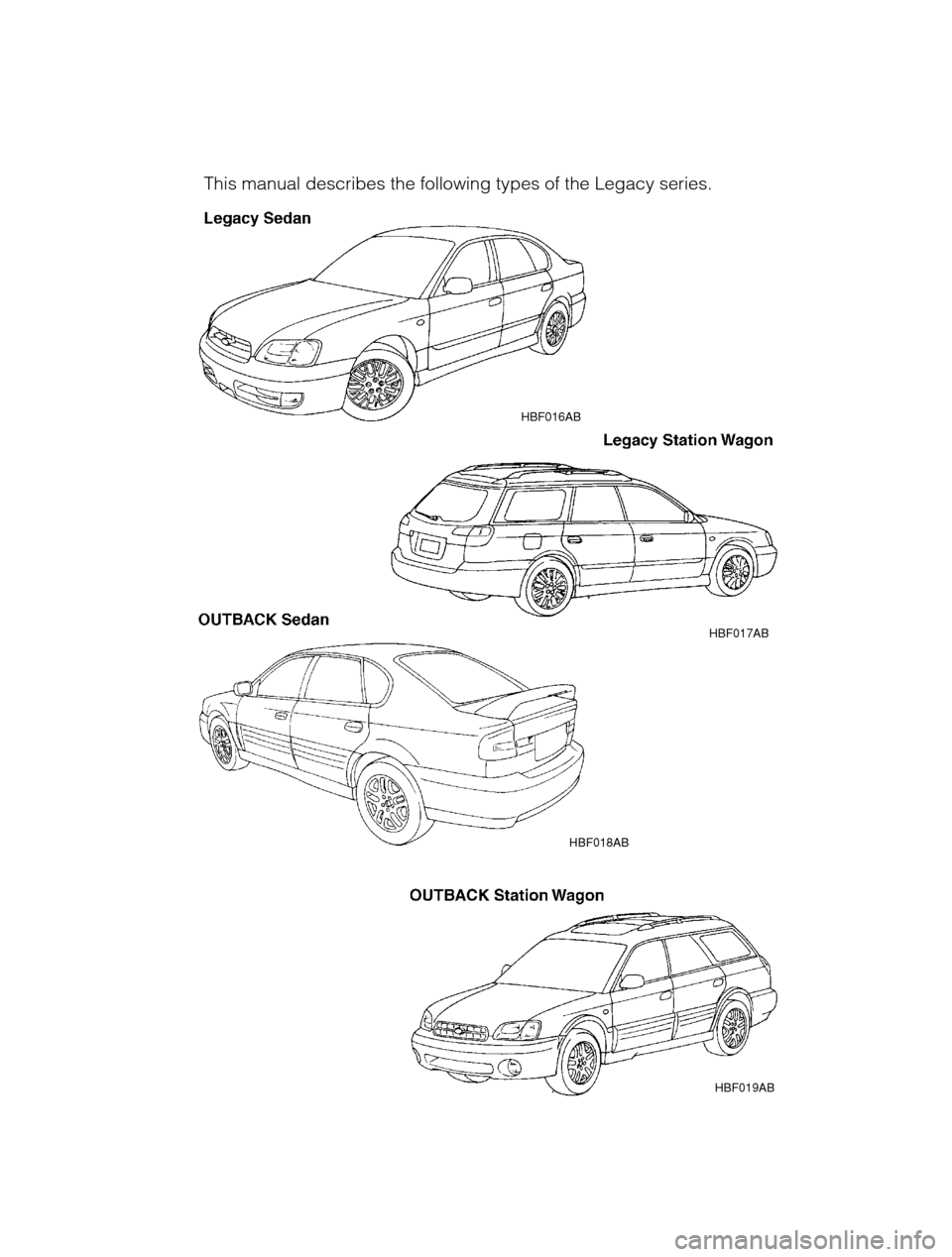 SUBARU LEGACY 2002 3.G Owners Manual