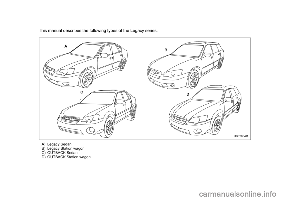 SUBARU LEGACY 2005 4.G Owners Manual (627 Pages)