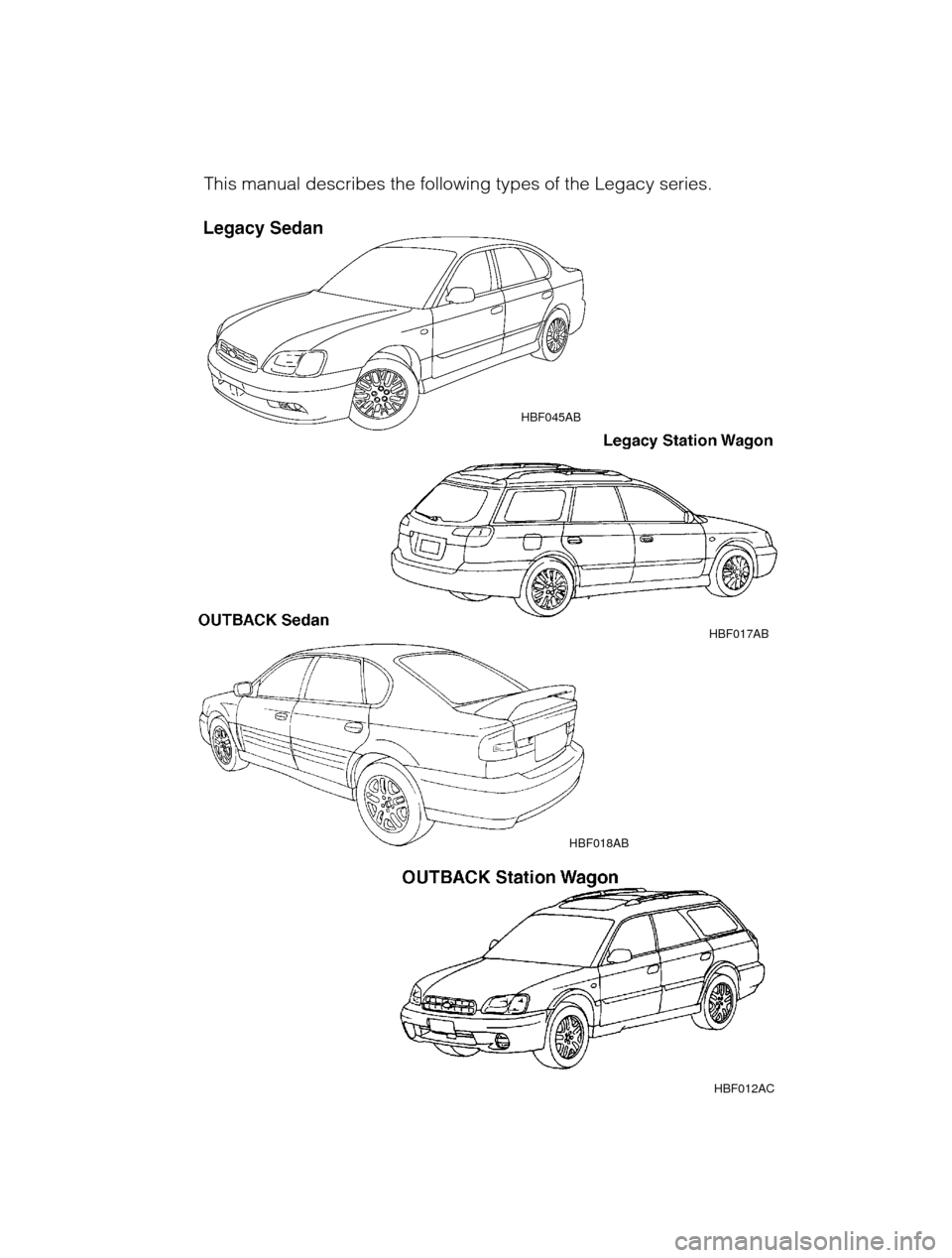 SUBARU OUTBACK 2003 3.G Owners Manual