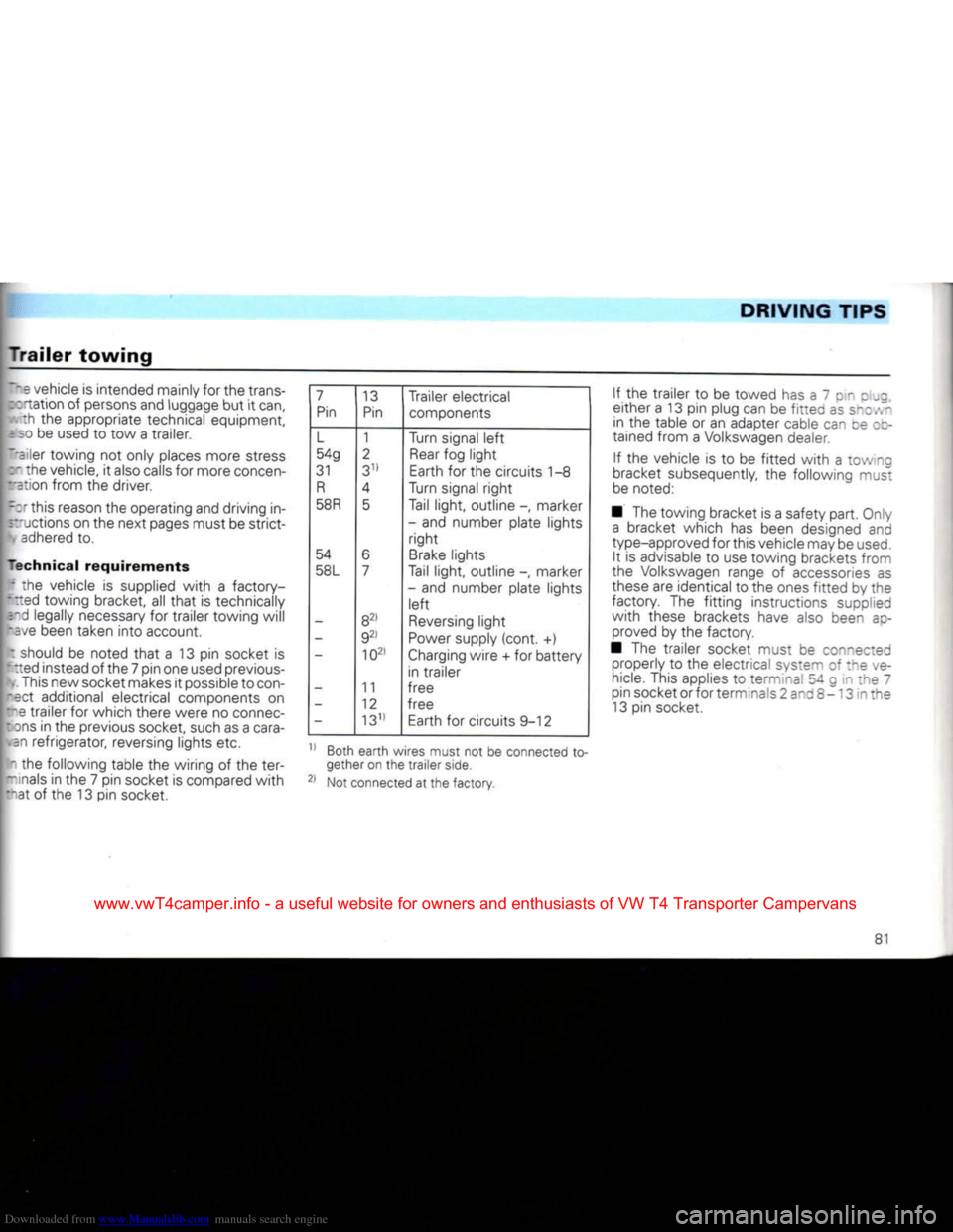 VOLKSWAGEN CARAVELLE 1992 T4 / 4.G Owners Manual