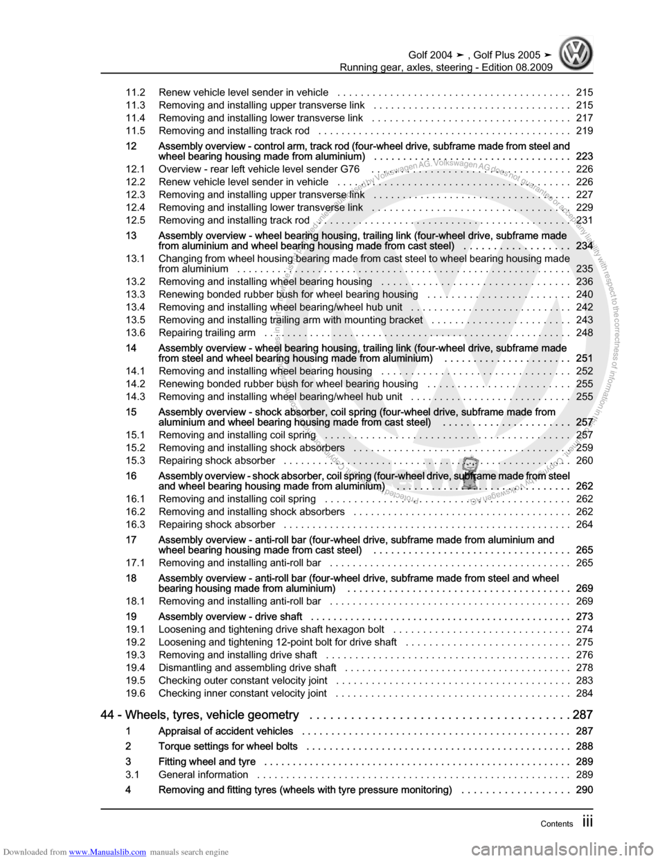 VOLKSWAGEN GOLF 2004 1J / 4.G Running Gear Axles Workshop