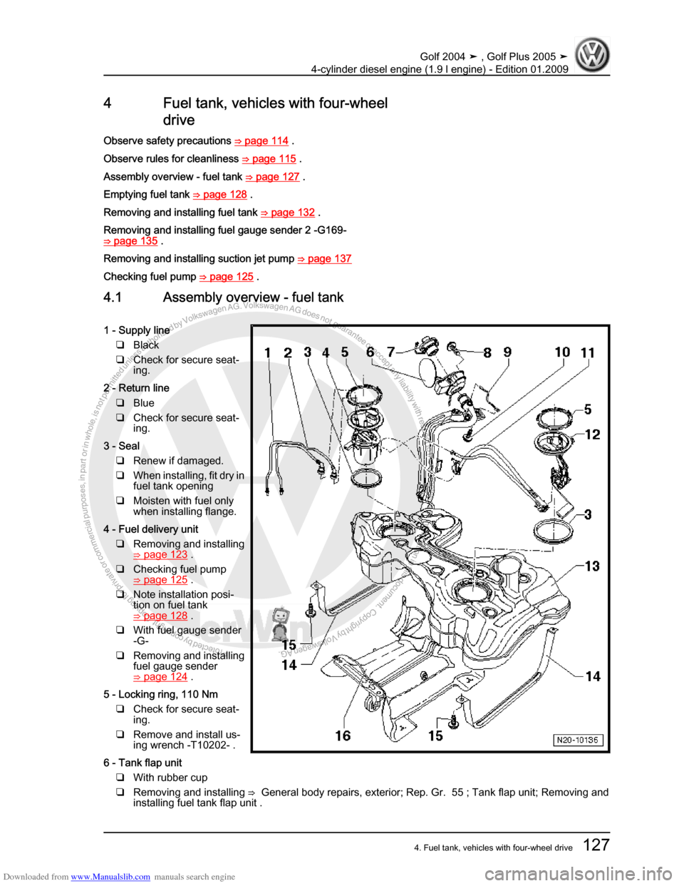 VOLKSWAGEN GOLF PLUS 2005 1K / 5.G Service Workshop Manual