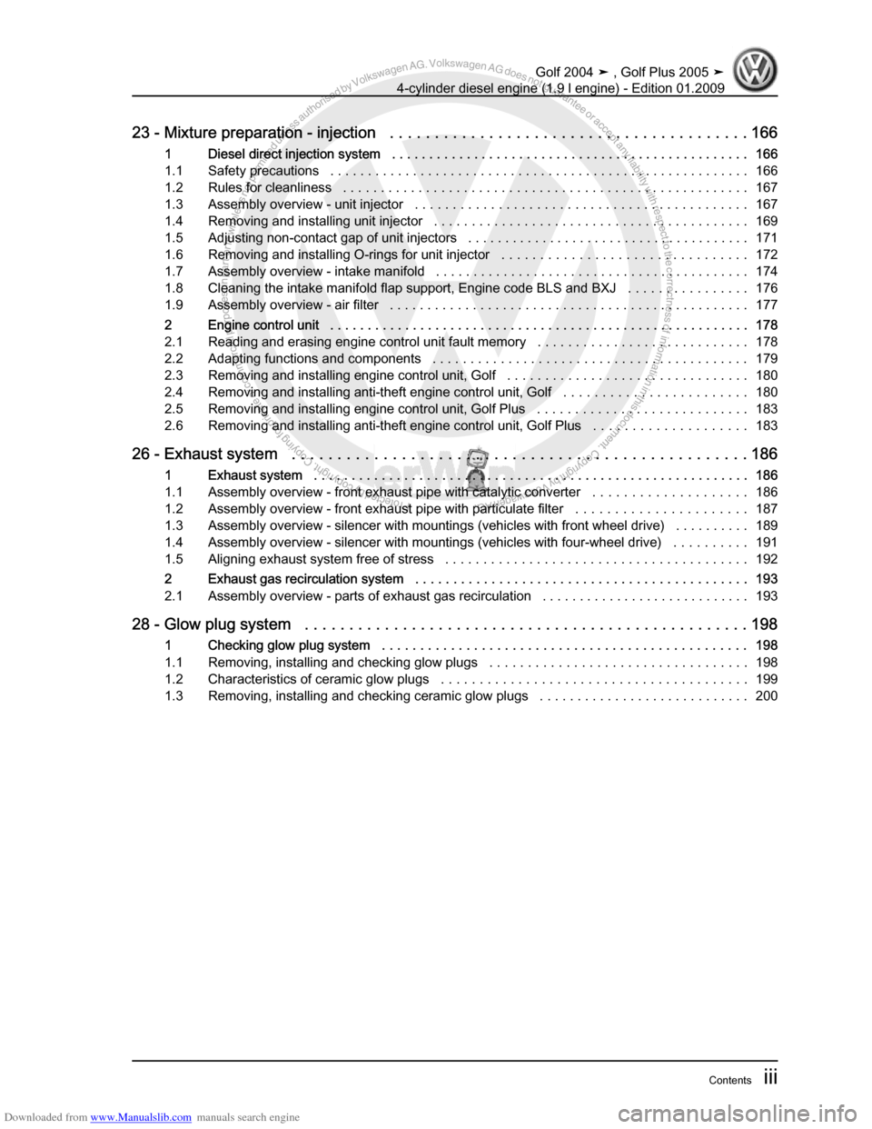 VOLKSWAGEN GOLF PLUS 2005 1K / 5.G Service Workshop Manual