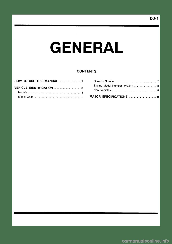 MITSUBISHI GALANT 1999 8.G Workshop Manual