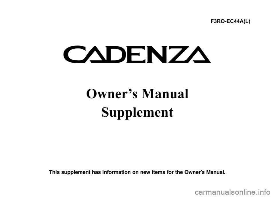KIA Cadenza 2015 1.G Owner's Manual
