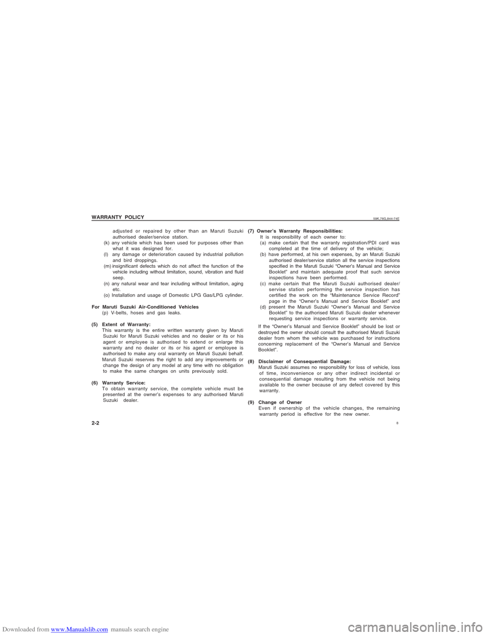 SUZUKI ALTO 2007 6.G Owners Manual