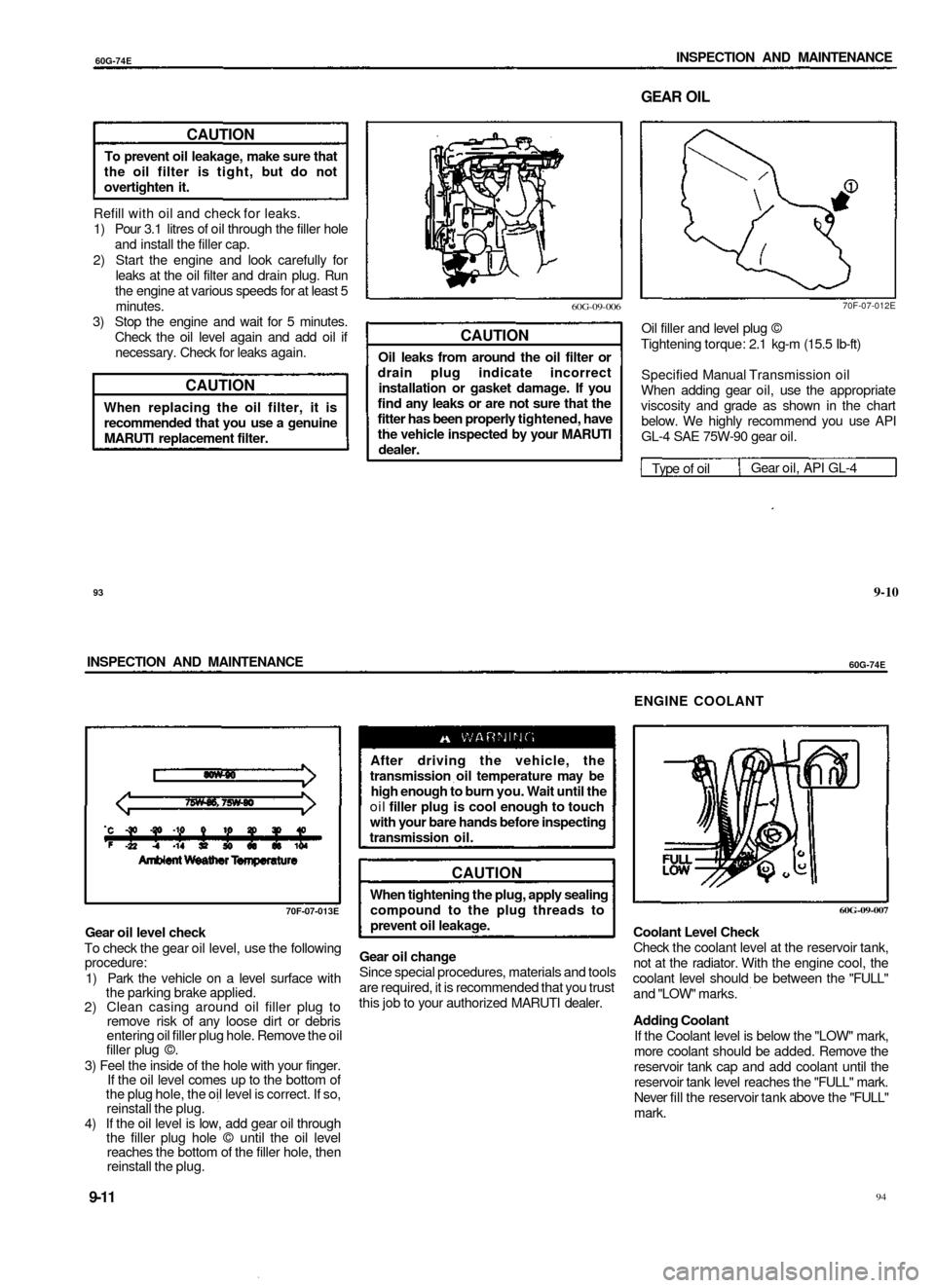 engine coolant SUZUKI BALENO 1999 1.G Owners Manual