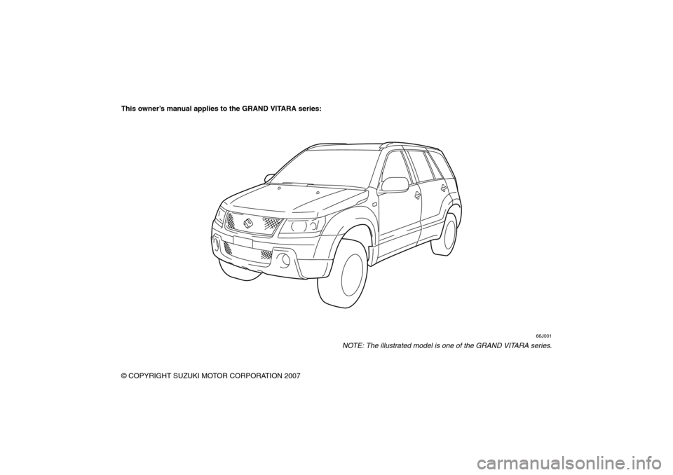 SUZUKI GRAND VITARA 2008 3.G Owners Manual