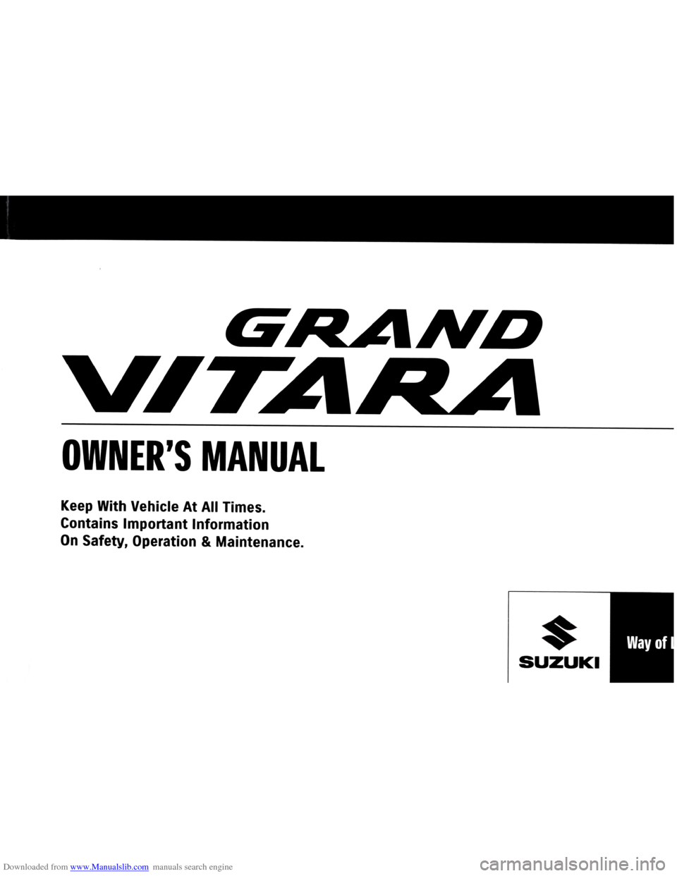 SUZUKI GRAND VITARA 2005 3.G Owners Manual