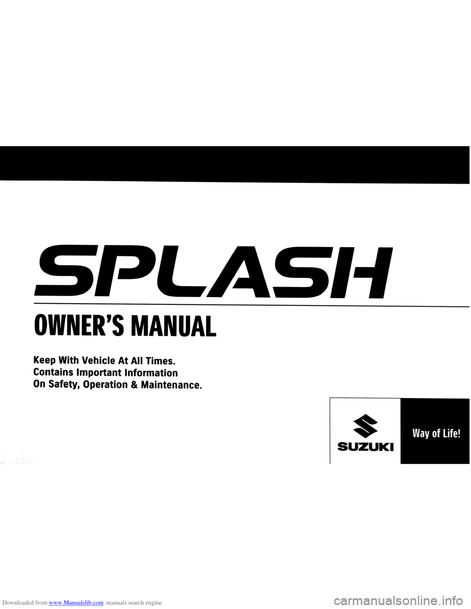 SUZUKI SPLASH 2005 1.G Owners Manual