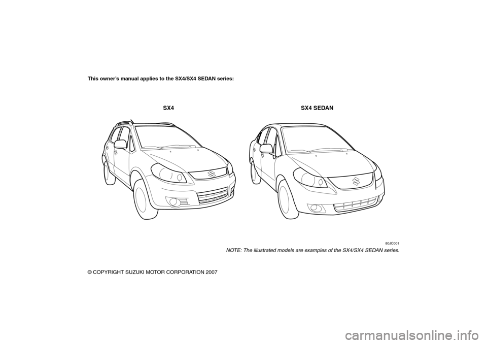 SUZUKI SX4 2008 1.G Owners Manual