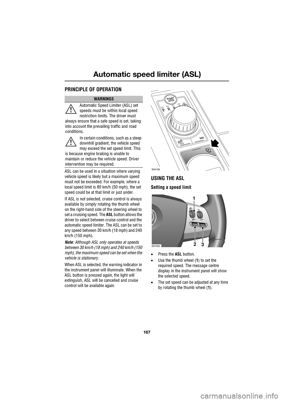 JAGUAR XF 2009 1.G Owners Manual (391 Pages), Page 170