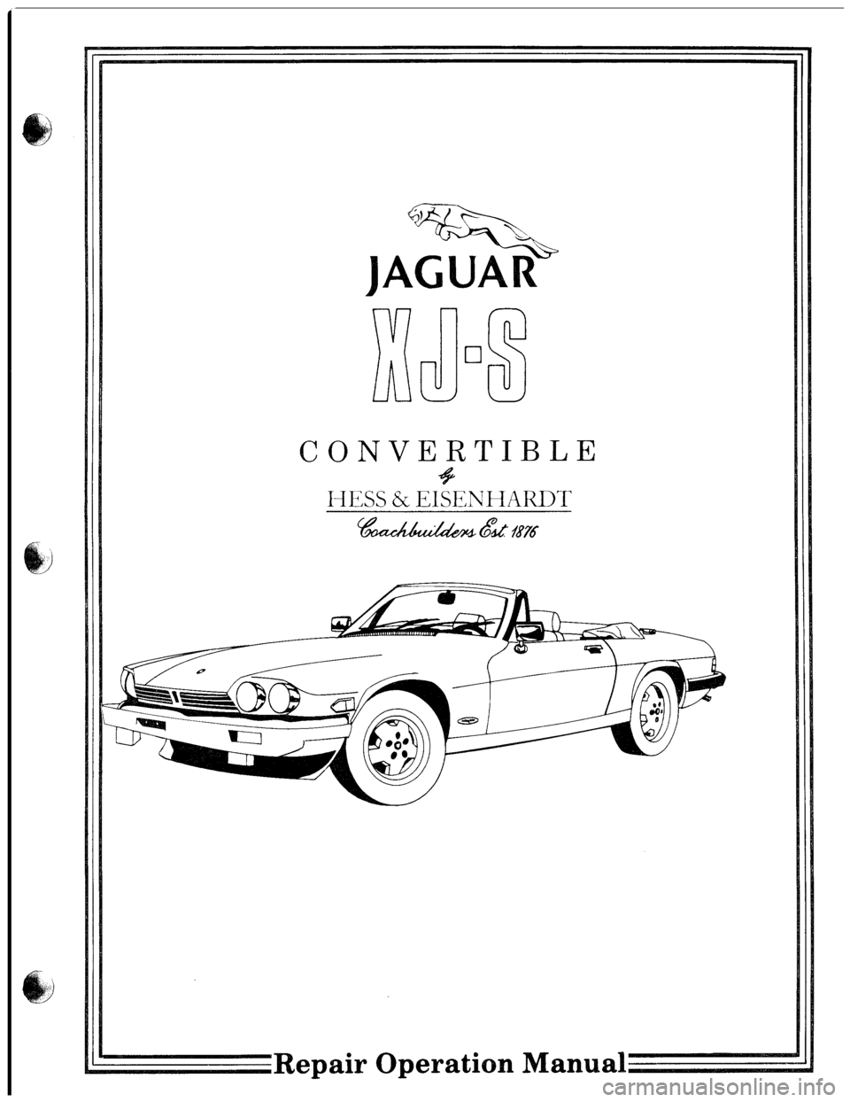 JAGUAR XJS 1980 1.G Workshop Manual