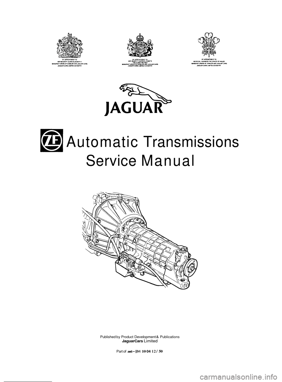 JAGUAR XJ 1994 2.G ZF Automatic Transmission Manual