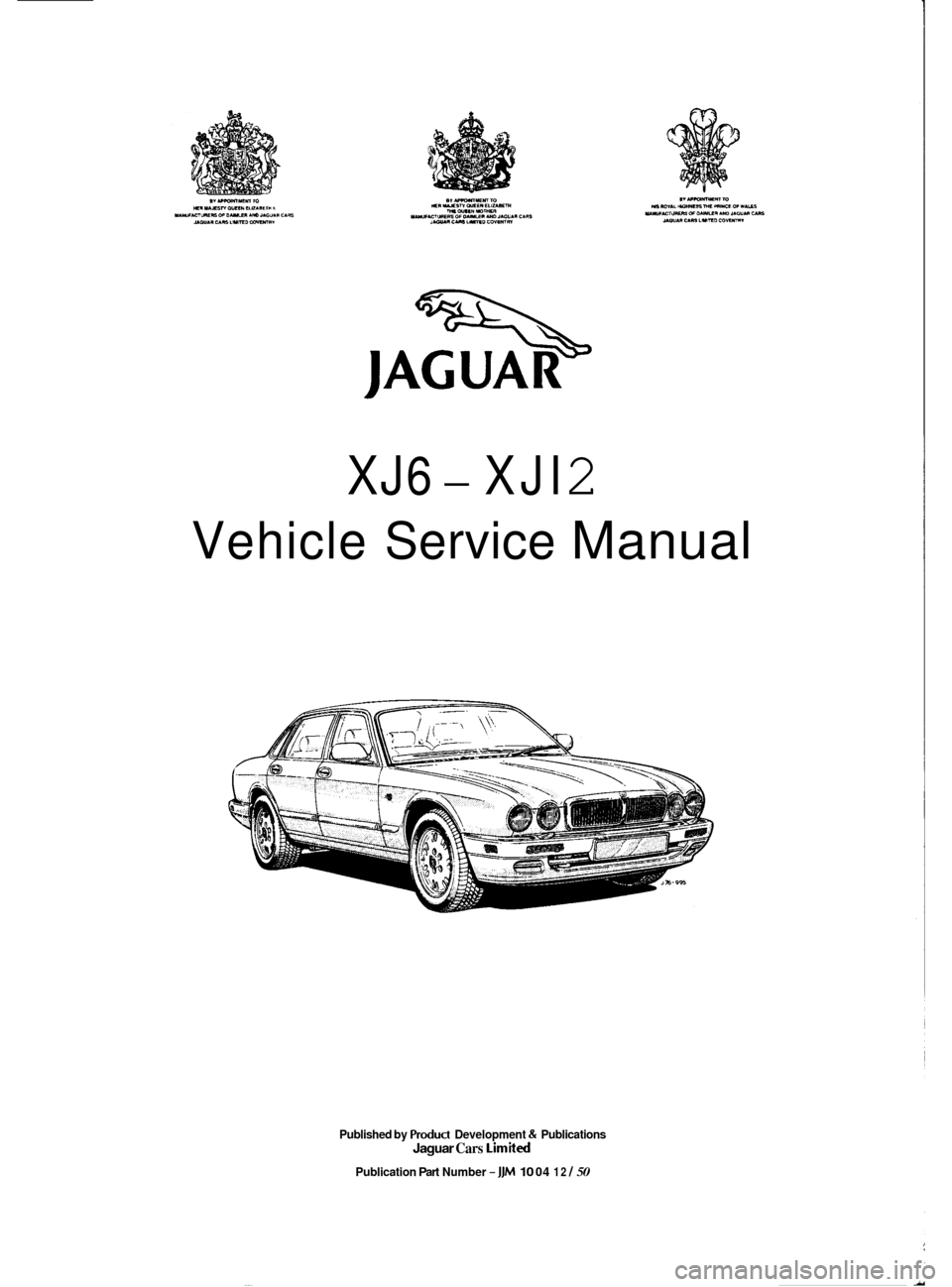 JAGUAR XJ6 1994 2.G Workshop Manual