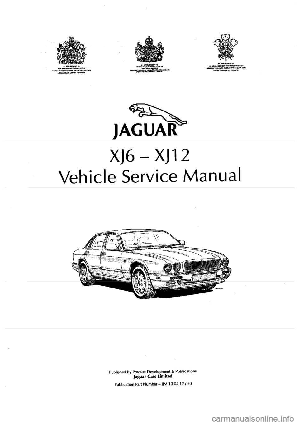 JAGUAR XJ6 1994 2.G Workshop Manual Second Edition