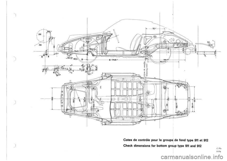PORSCHE 911 1968 1.G Body Diagrams Workshop Manual (7 Pages)