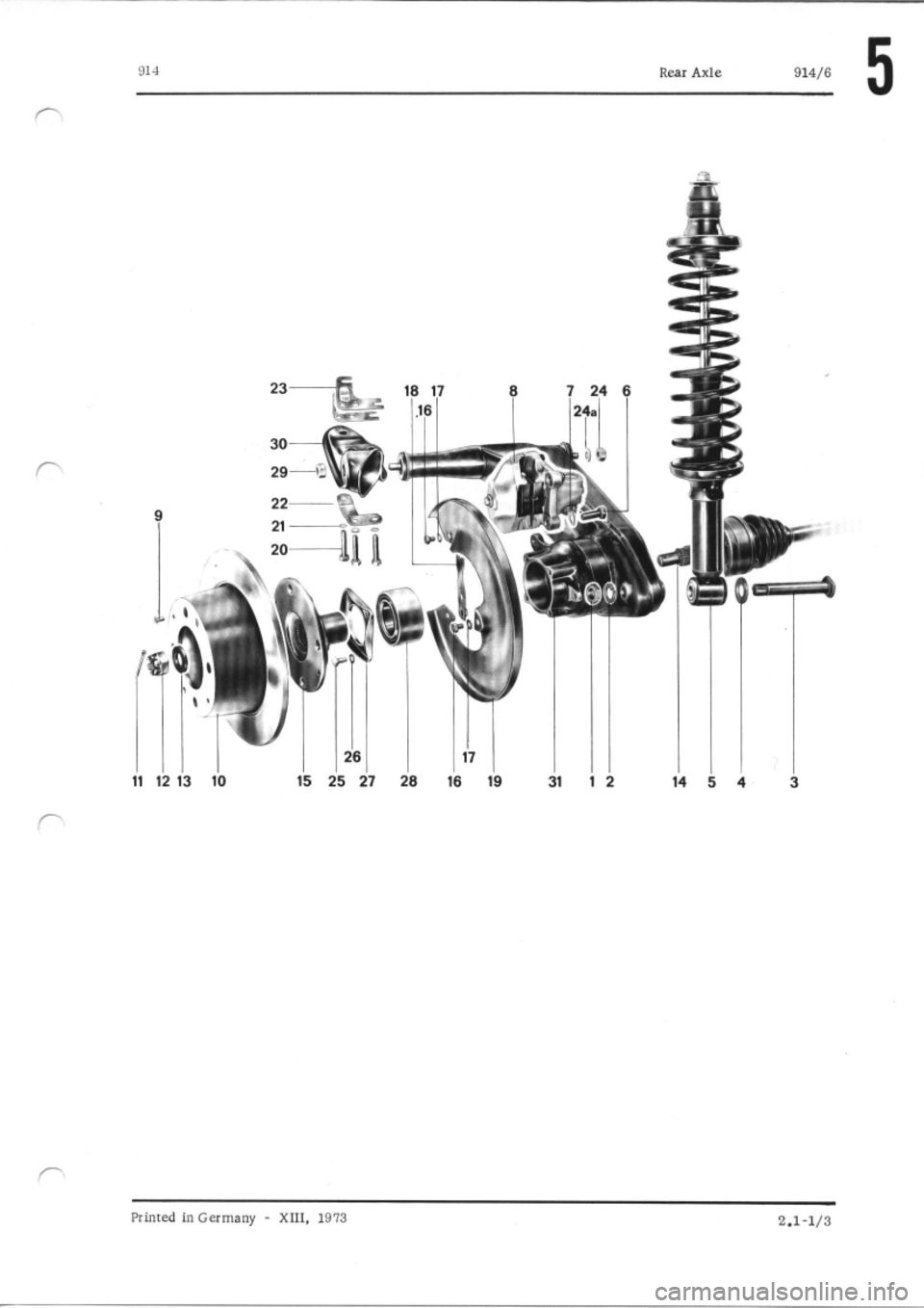 PORSCHE 914 1976 1.G Rear Axle Workshop Manual