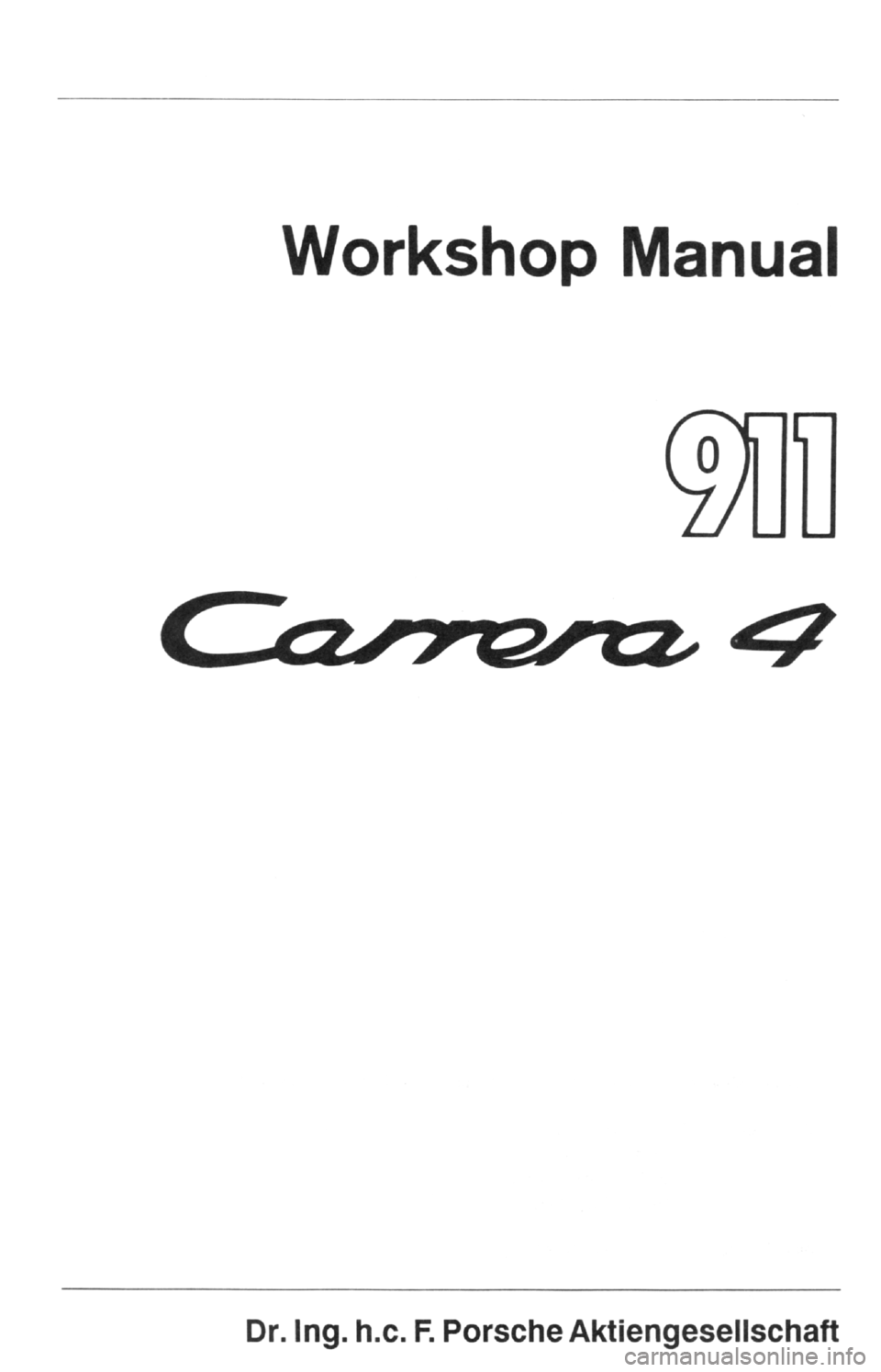 PORSCHE 964 1987 2.G Service Workshop Manual