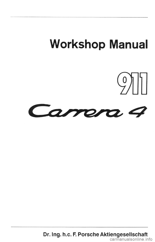 PORSCHE 964 1989 2.G Service Workshop Manual 2