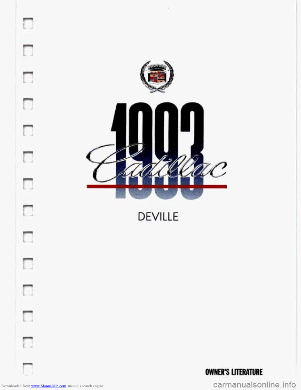 CADILLAC DEVILLE 1993 7.G Owners Manual
