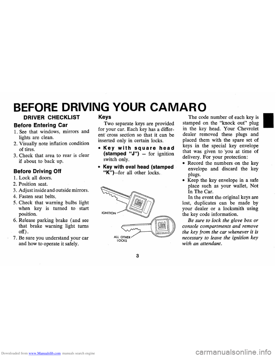 CHEVROLET CAMARO 1974 2.G Owners Manual