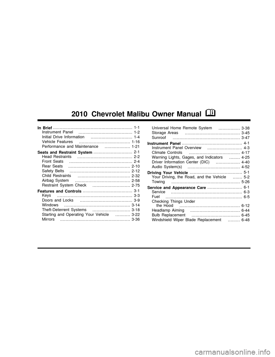 CHEVROLET MALIBU 2010 7.G Owners Manual (451 Pages)