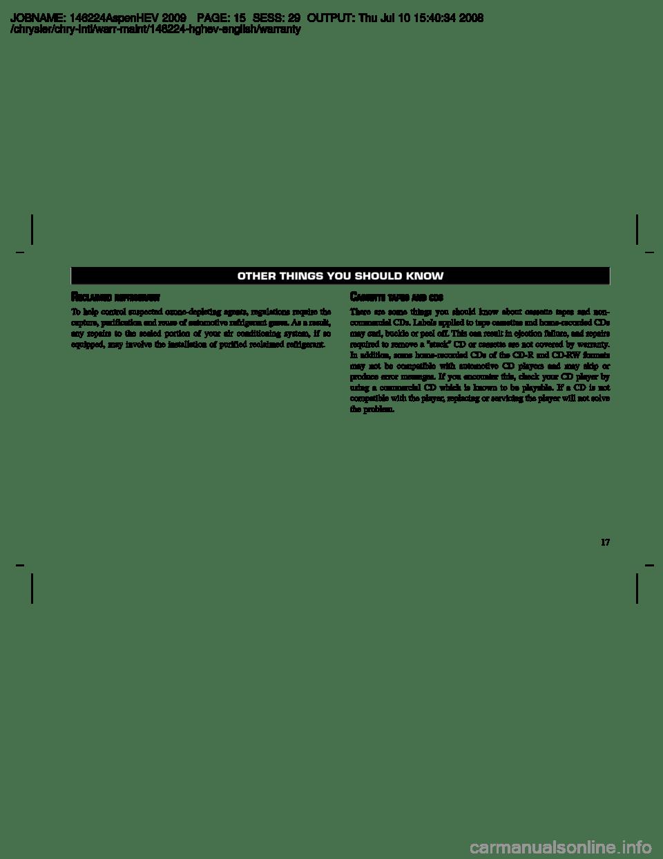 CHRYSLER ASPEN HYBRID 2009 2.G Owners Manual
