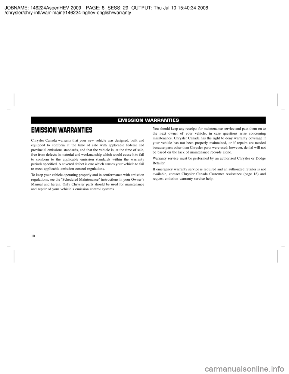 CHRYSLER ASPEN HYBRID 2009 2.G Owners Manual (68 Pages)