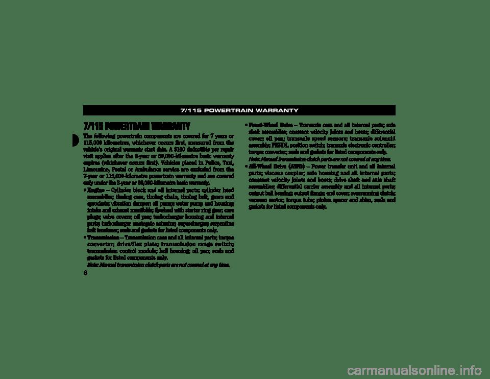 CHRYSLER CONCORDE 2003 2.G Warranty Booklet