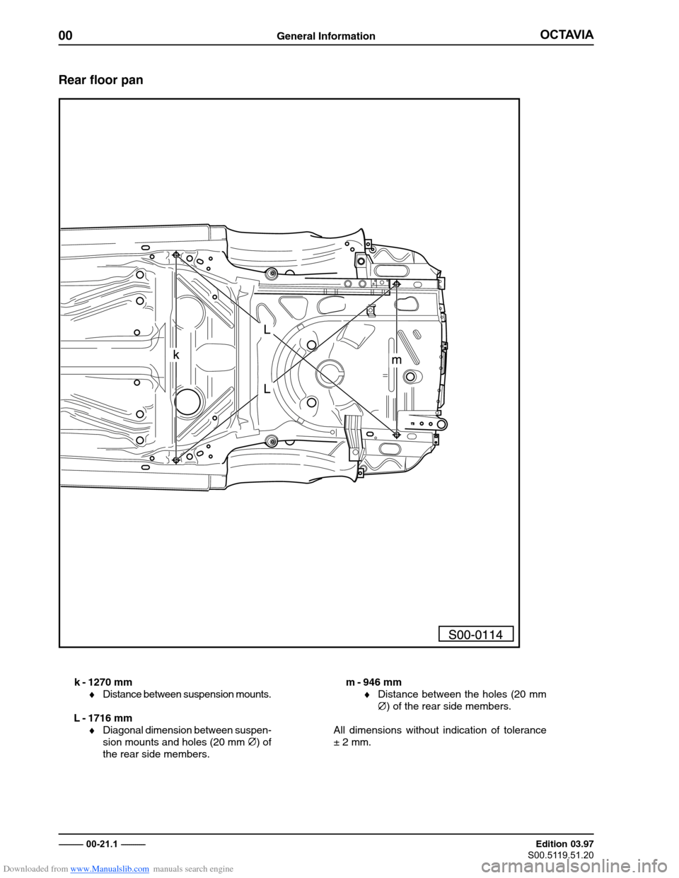 SKODA OCTAVIA 1997 1.G / (1U) Body Repairs Workshop Manual