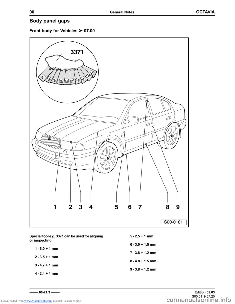 SKODA OCTAVIA 1997 1.G / (1U) Body Repairs Workshop Manual