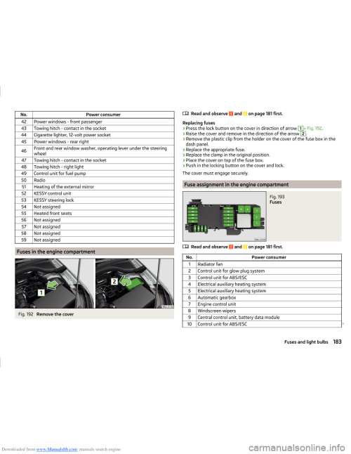 small resolution of skoda fabia 2014 3 g nj operating instruction manual page 186