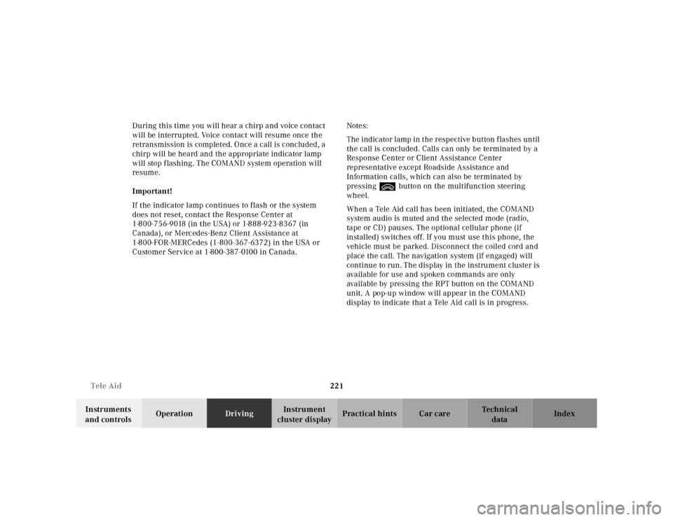 MERCEDES-BENZ S430 2000 W220 Owner's Manual