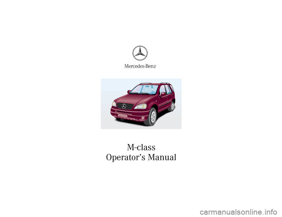 MERCEDES-BENZ ML320 2001 W163 Owner's Manual