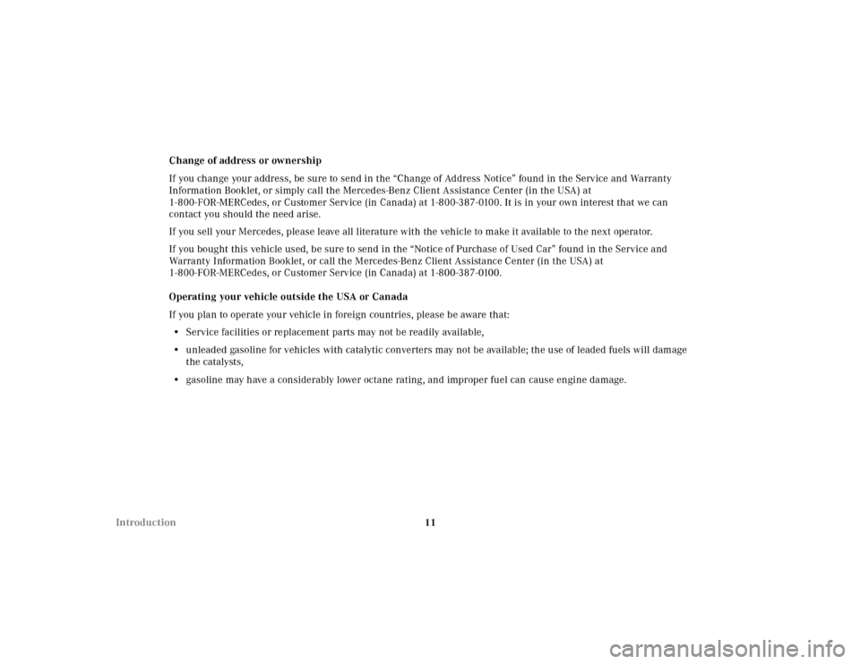 MERCEDES-BENZ ML55AMG 2001 W163 User Guide