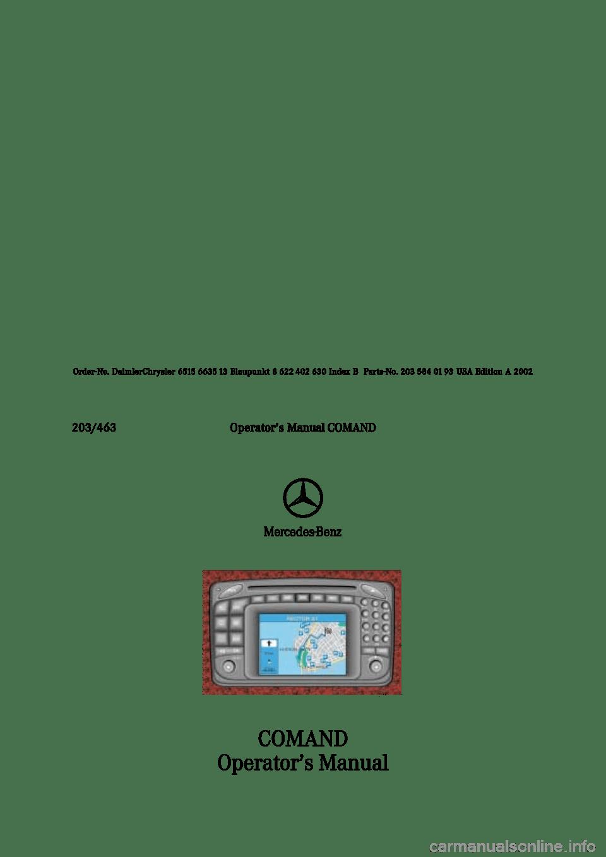 MERCEDES-BENZ CL-Class 2002 C215 Comand Manual (235 Pages)