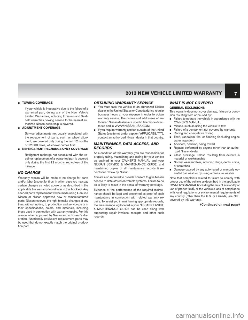 NISSAN QUEST 2013 RE52 / 4.G Warranty Booklet