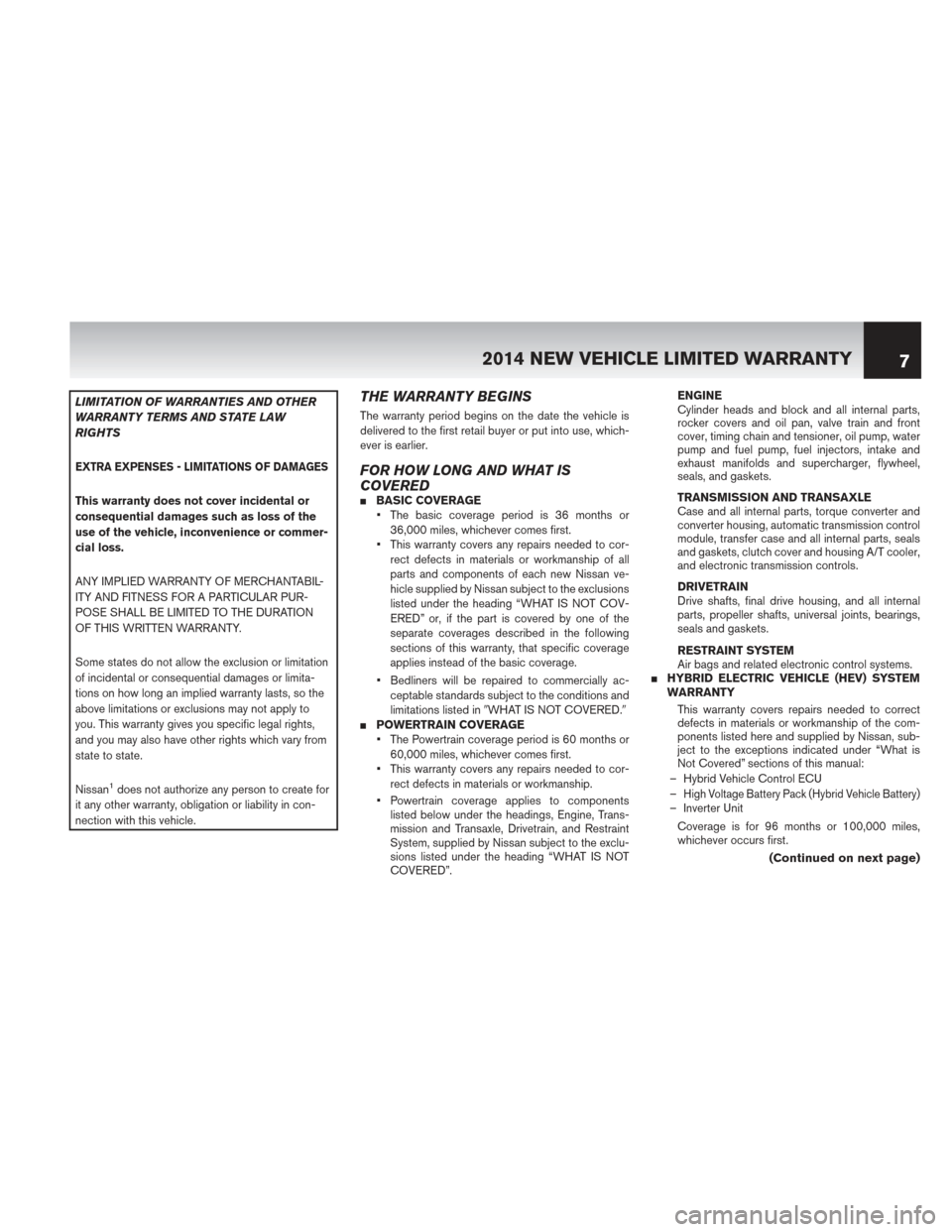 NISSAN MURANO HYBRID 2014 2.G Warranty Booklet