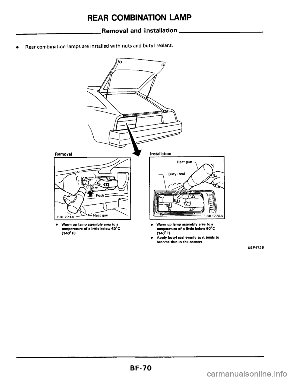 NISSAN 300ZX 1984 Z31 Body Repair Manual (77 Pages)