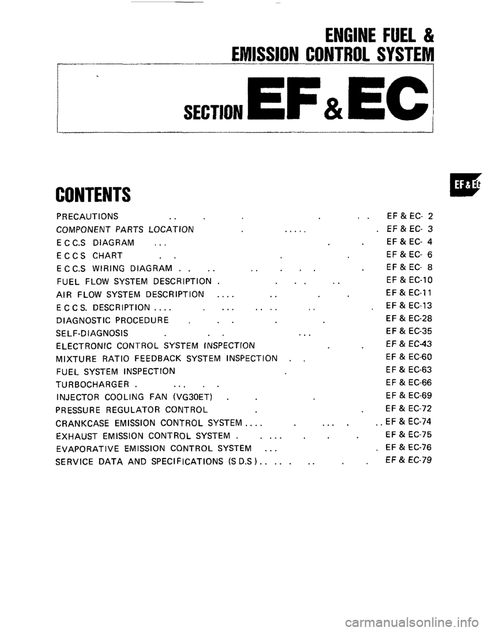 hight resolution of nissan 300zx 1984 z31 engine fuel and emission control system workshop manual