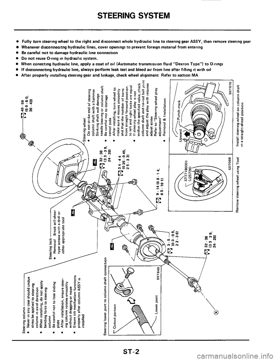 NISSAN 300ZX 1984 Z31 Steering System Workshop Manual
