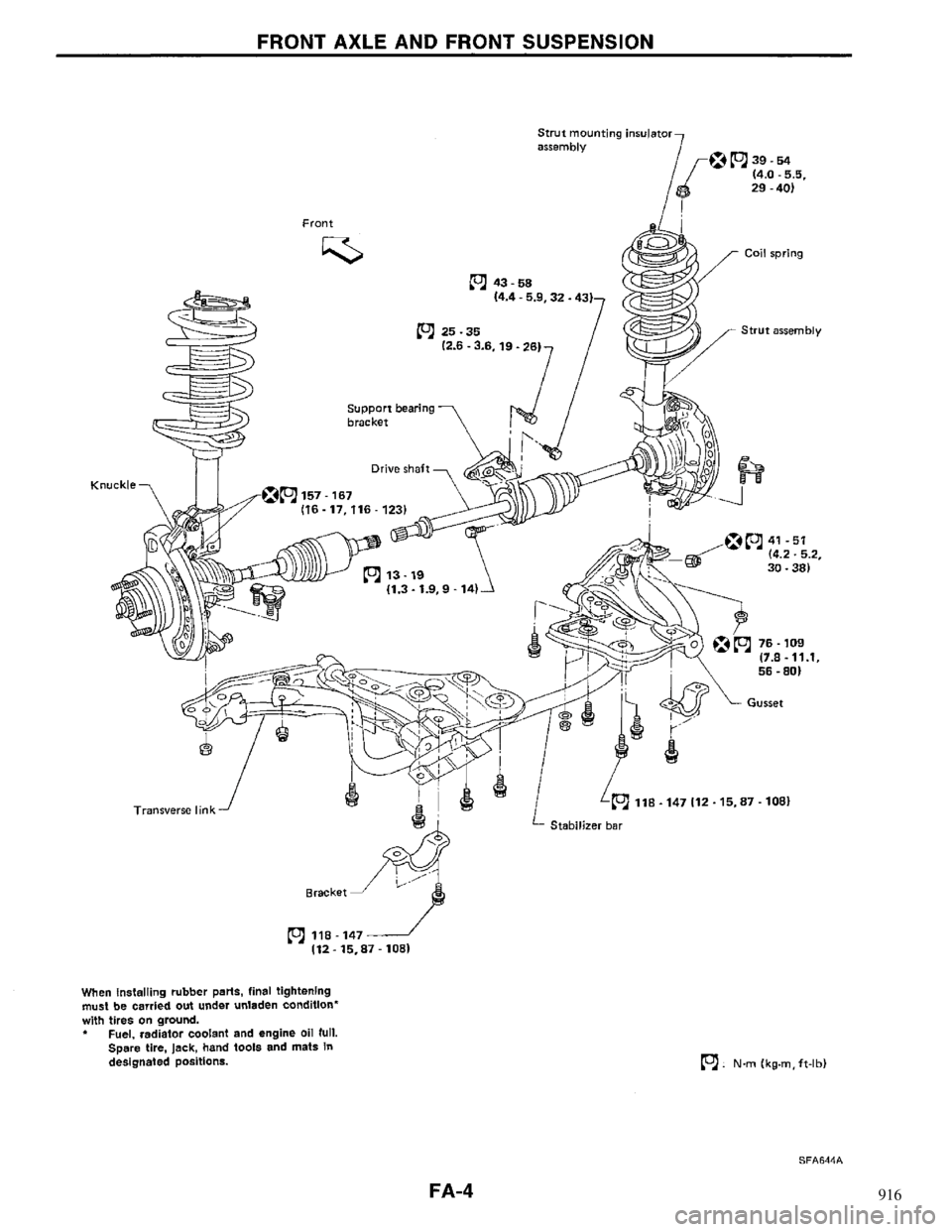 NISSAN MAXIMA 1994 A32 / 4.G Front Suspension Workshop Manual