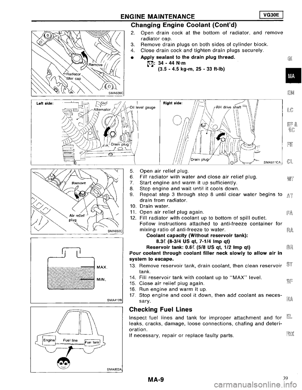 NISSAN MAXIMA 1994 A32 / 4.G Maintenance Workshop Manual