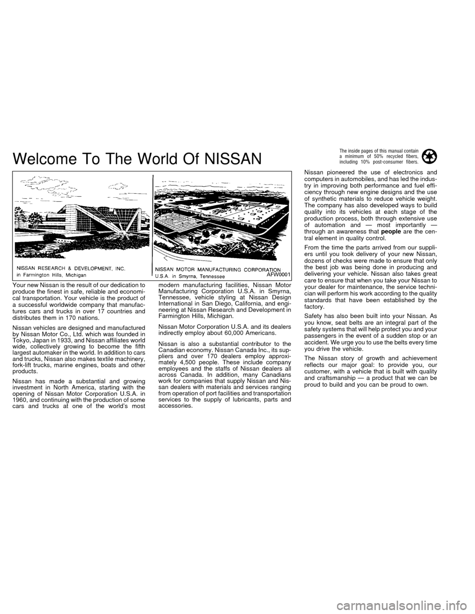 NISSAN FRONTIER 1996 D22 / 1.G Owners Manual