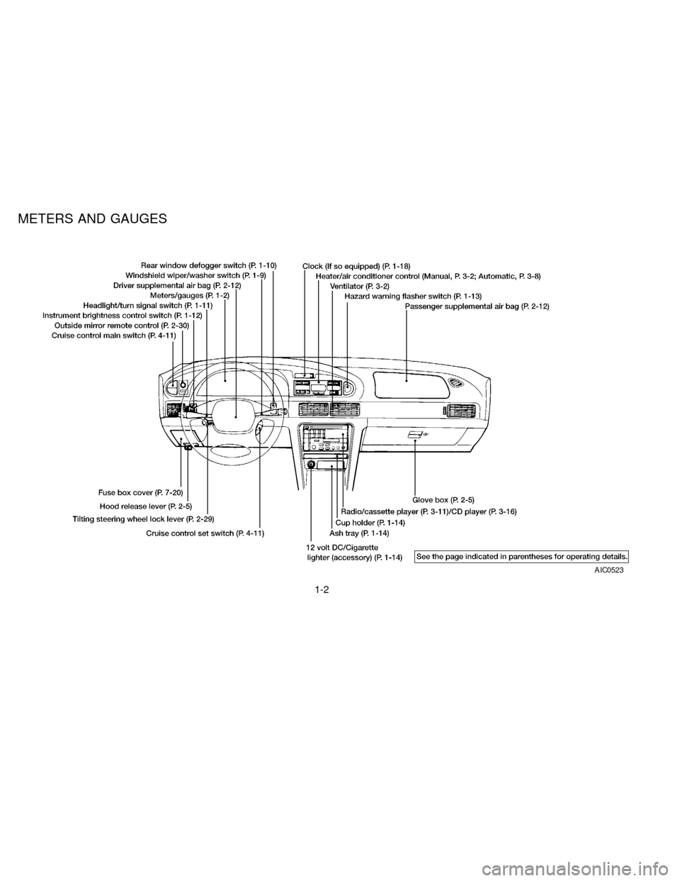 NISSAN ALTIMA 1997 U13 / 1.G Owners Manual