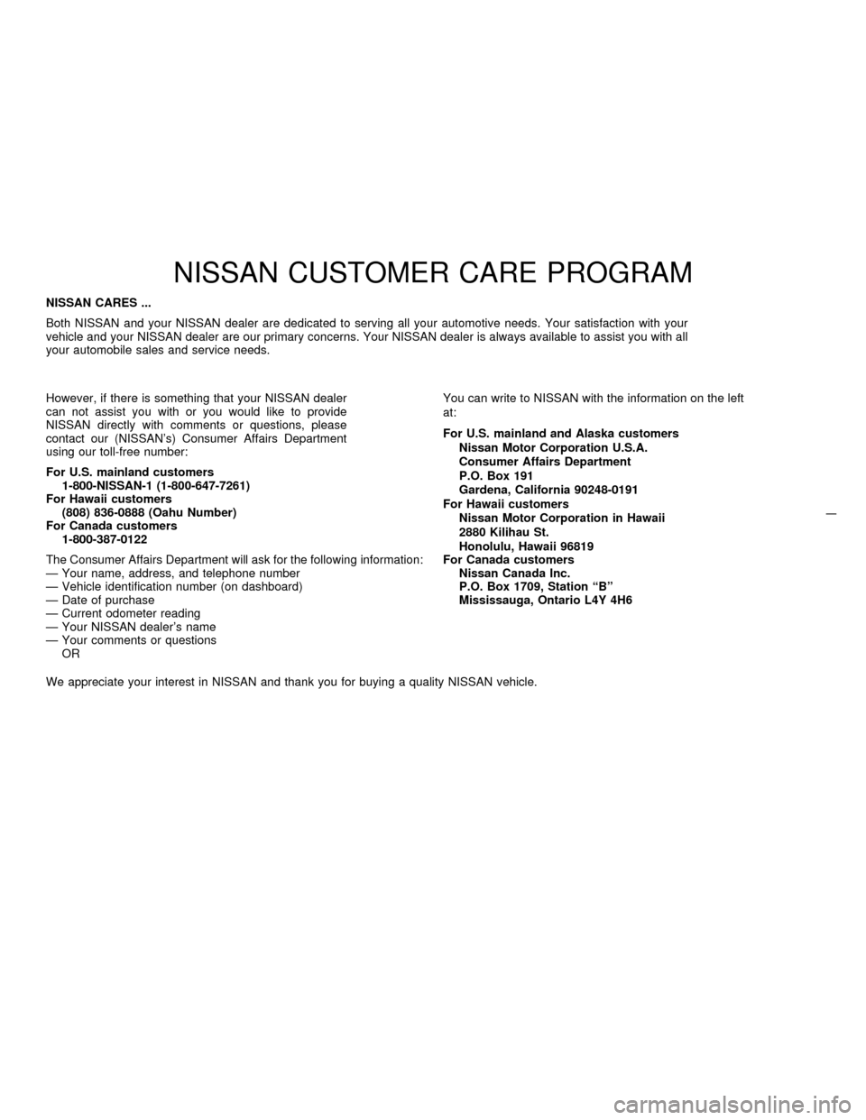 NISSAN PATHFINDER 1997 R50 / 2.G Owners Manual